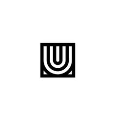 square stripes logo letter u vector image