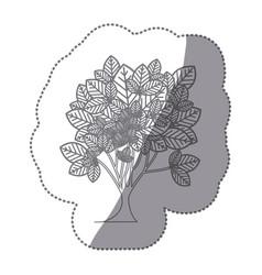 Sticker gray color leafy tree plant vector