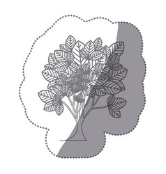 Sticker gray color leafy tree plant with vector
