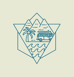 Surf boards on beach van icon in line art style vector