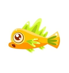 Surprised yellow fantastic aquarium tropical fish vector