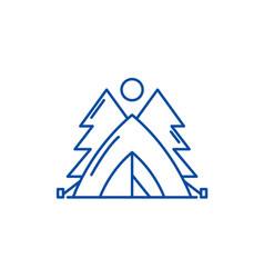 tent in the forest line icon concept tent in the vector image