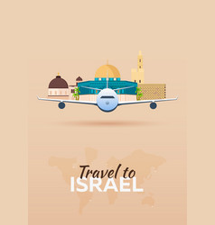 Travel to israel airplane with attractions vector