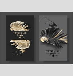 Tropic alocasia leaf black and gold banner vector