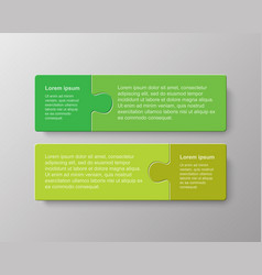 two pieces puzzle jigsaw square info graphic vector image