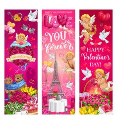 valentines day romantic couple hearts and cupids vector image