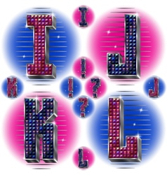 Volume letters IJKL with shiny rhinestones vector image