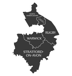 Warwickshire county england uk black map vector
