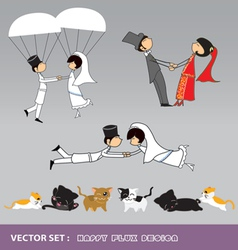 Wedding character and cats prop vector