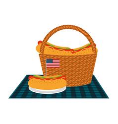 Wicker basket hot dog american flag vector