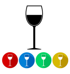 wine glass silhouette icon set button isolated vector image