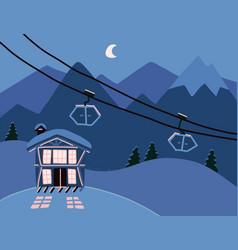 winter background with a hotel in snowy mountains vector image