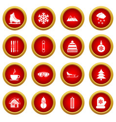 winter icon red circle set vector image