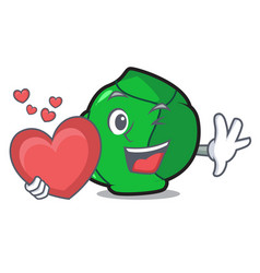With heart brussels mascot cartoon style vector