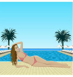Woman in bikini lying near pool vector