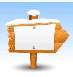 Wooden sign snow post icon symbol label vector image