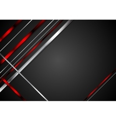Black background with red and metallic stripes vector