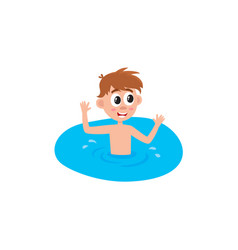 flat boy swimming in pool vector image