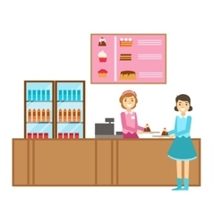 Girl Ordering A Cake At The Counter Smiling vector image