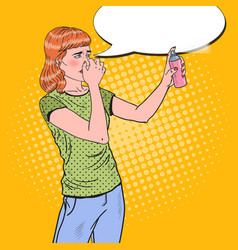 pop art young woman spraying can of air freshener vector image vector image