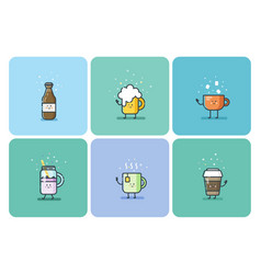 set of cold and hot drinks cute cartoon characters vector image
