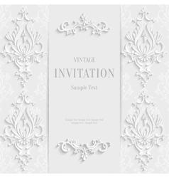 White christmas vintage invitation card vector