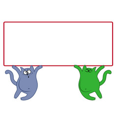 amusing cats with large rectangular banner vector image vector image