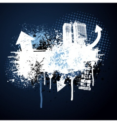 dark blue grunge city frame vector image