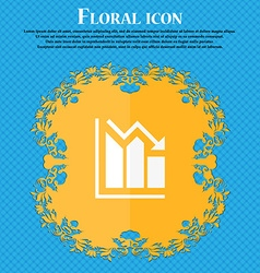 histogram icon Floral flat design on a blue vector image vector image