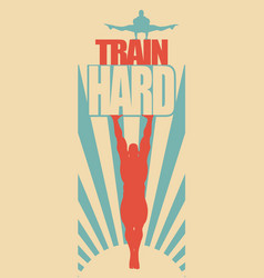 Muscular man posing on train hard text vector
