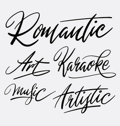 romantic and karaoke hand written typography vector image vector image