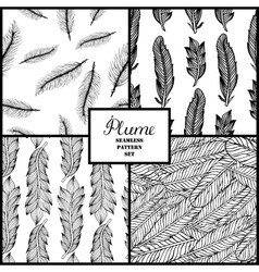 Seamless pattern with hand-drawn feathers vector image vector image