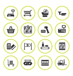 Set round icons of retail equipment vector image