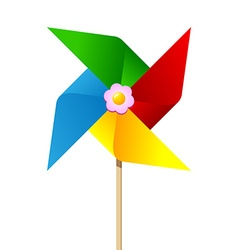 Colorful paper pinwheel vector image