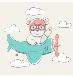 cute little bear fly plane vector image