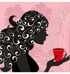 girl with the flower tea vector image vector image