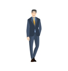 Man In Classic Suit With Orange Tie Part Of The vector image