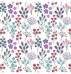 Seamless pattern with flowers leaves branches vector image vector image