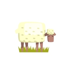 Sheep toy farm animal cute sticker vector