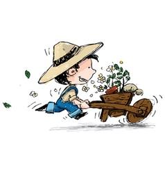 Smiling Boy Gardener vector image