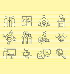 business teamwork teambuilding thin line icons vector image vector image