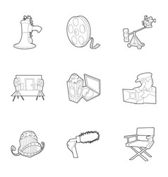 movie icons set outline style vector image vector image