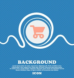 shopping basket sign icon Blue and white abstract vector image vector image