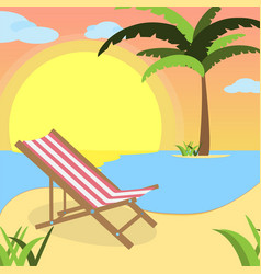 summer background with red white lounger of beach vector image
