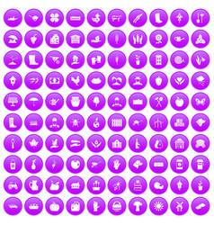 100 farm icons set purple vector