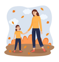 Adult woman and girl kid stand and hold hands in vector