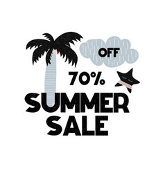 Advert card with lettering 70 off summer sale in vector