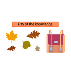 Assembly flat icons school bag leaves vector