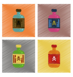 Assembly flat shading style icons potion in bottle vector