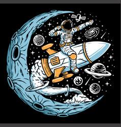 Astronaut riding rocket vector